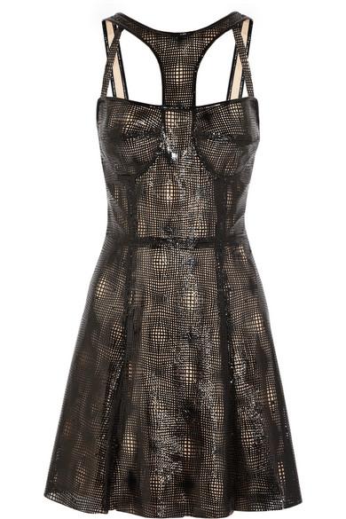 CAPITOL COUTURE BY TRISH SUMMERVILLE|Laser-cut patent-leather dress|NET-A-PORTER.COM