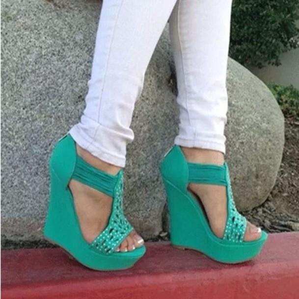 shoes green diamonds high heels