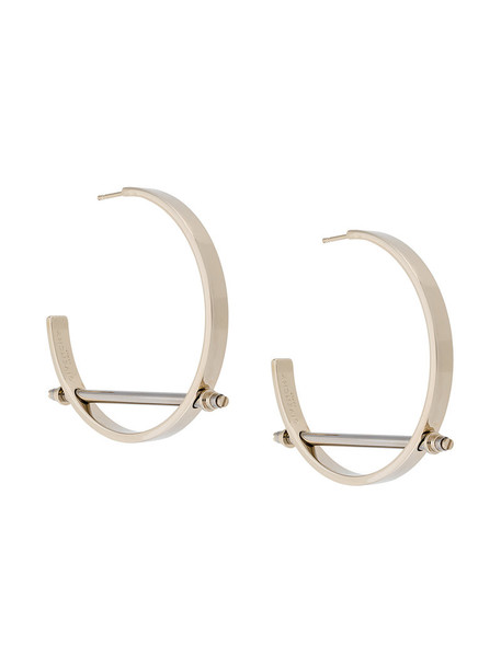 metal women earrings hoop earrings grey metallic jewels