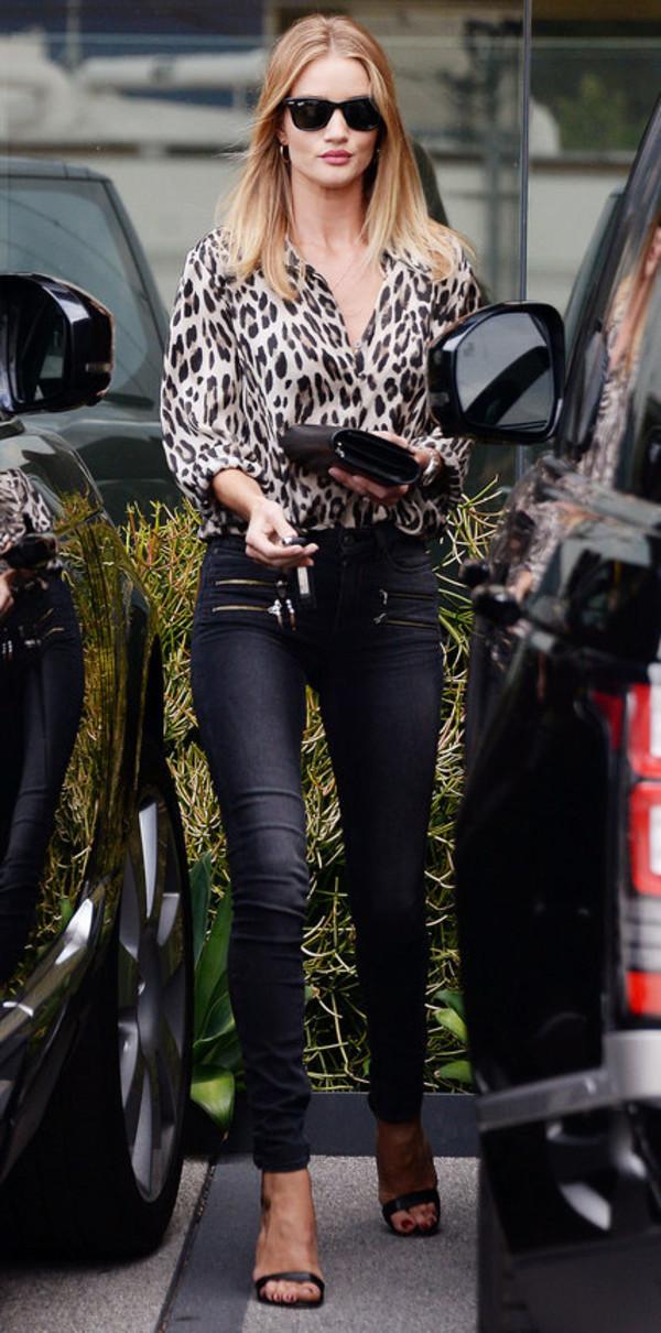 blouse animal print leopard print sandals pants rosie huntington-whiteley