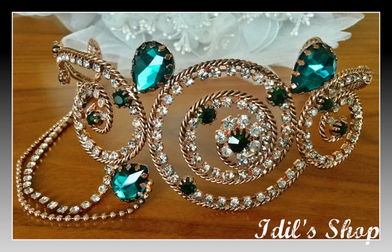 Authentic turkish ottoman style bridal tiara crown diadem hair accessories for wedding ceremony
