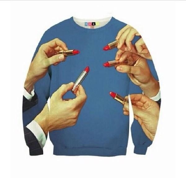 sweater red lipstick sweatshirt