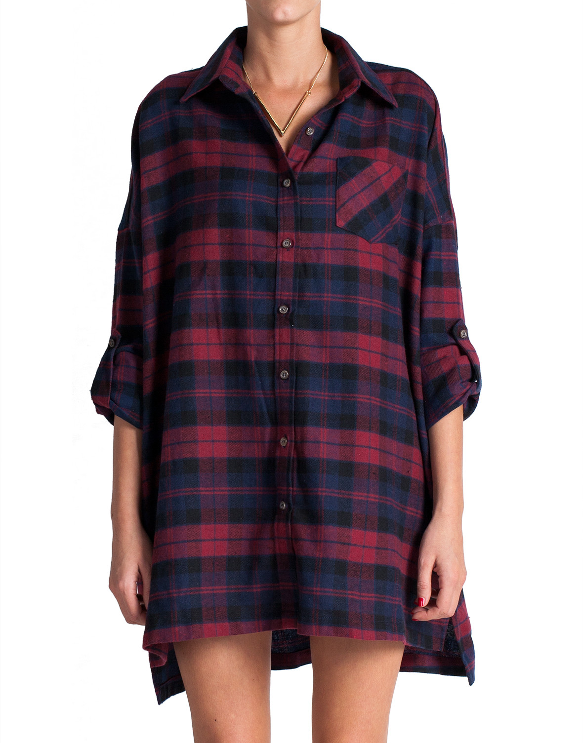 Plaid flannel shirt dress red 2020ave for Red plaid dress shirt