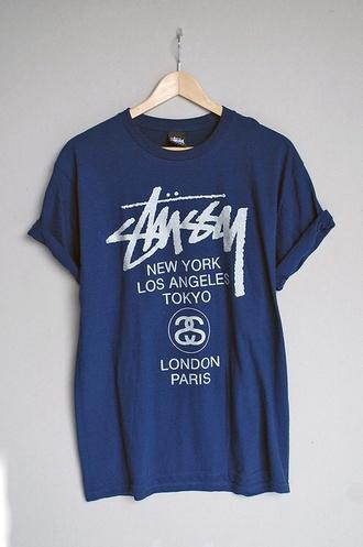 t-shirt navy new york los angeles paris