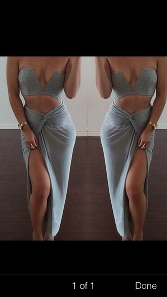 top two-piece skirt grey cute sexy sexy dress love more grey skirt crop tops bustier crop top bustier bralette bustier top vshape vshaped clevage draped set dress