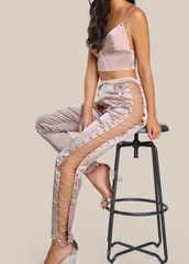 pants,girly,pink,satin,pink jumpsuit,jumpsuit,two piece pantsuits,pantsuit,party outfits,sexy,sexy outfit,summer outfits,spring outfits,classy,cute,date outift,clubwear,date outfit,wedding clothes,wedding guest,romantic,summer holidays