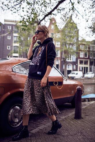 top skirt tumblr sweatshirt black top kenzo sweater midi skirt leopard print boots black boots ankle boots bag