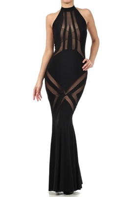 Womens Mesh Lined Long Elegant Dress