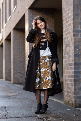 the fashion fraction blogger sweater roses jacquard acne studios midi skirt black coat skirt shoes bag coat sports sweater fur collar coat long coat winter coat black bag chanel bag graphic sweatshirt black long coat