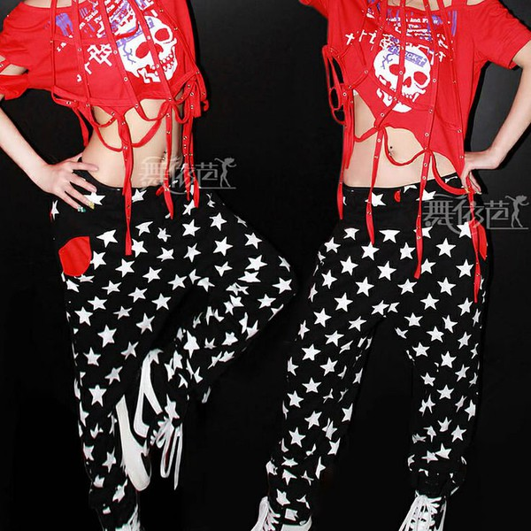star print stars pants black and white