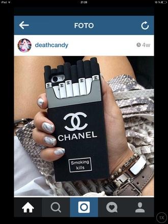 phone case white chanel iphone case iphone 5 case smoking kills cigarette case