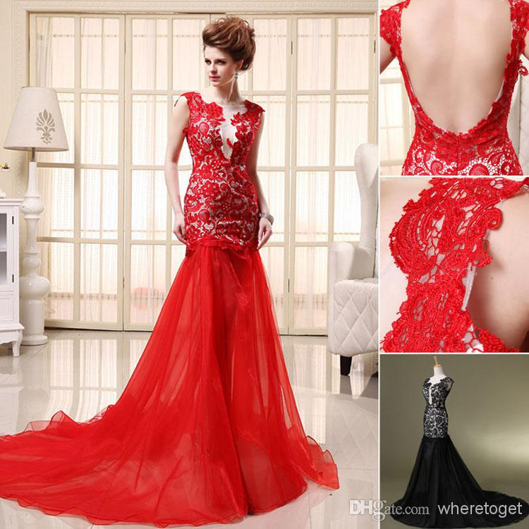 Buy 2014 new amazing crew neckline lace trumpet prom gowns backless sexy modern design sweep length sleeveless red chiffon party dress sd071, $66.27