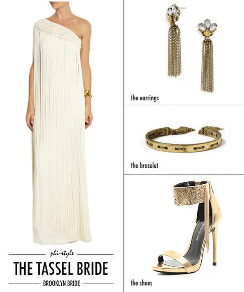 asymmetrical blogger jewels bklyn bride tassel earrings bracelets white dress