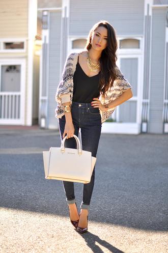 hapa time cardigan shoes jewels bag blogger