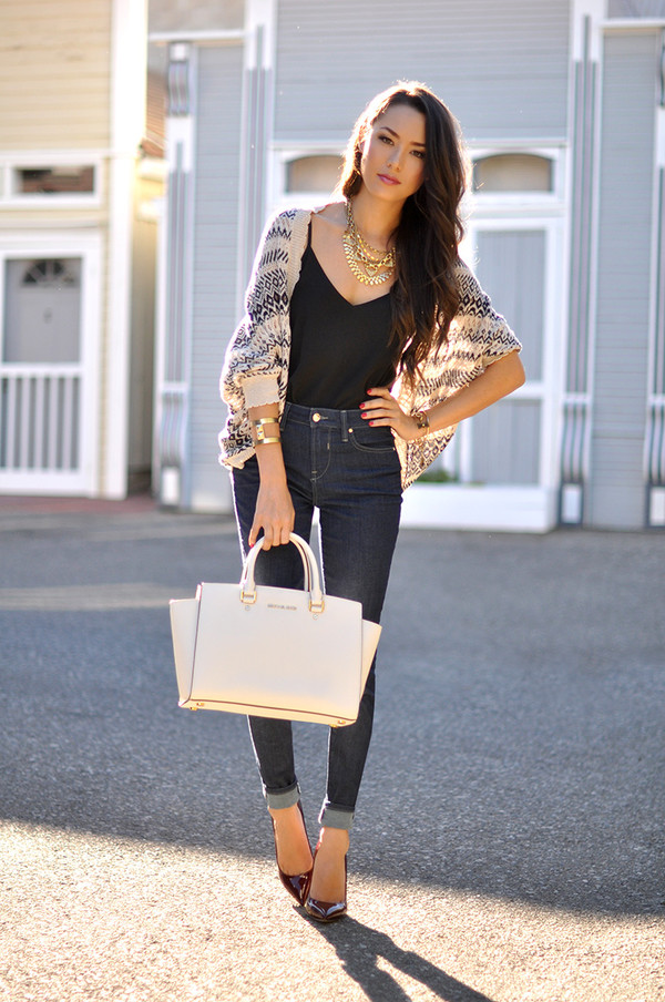 hapa time blogger bag jewels shoes cardigan