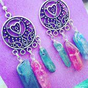 jewels,the faerie mines,earrings,jewelry,boho,hippie,grunge t-shirt,grunge,indie,bohemian,quartz,crystal quartz,gemstone,aqua aura,aqua,mandala,moon