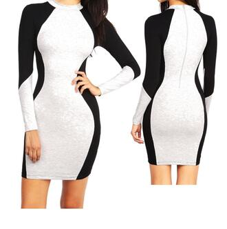 dress curvy colorblock knit tight bodycon zip long sleeves clubwear party