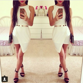 white dress gold belt beautiful asymmetrical sexi greek godness middle size dress the middle