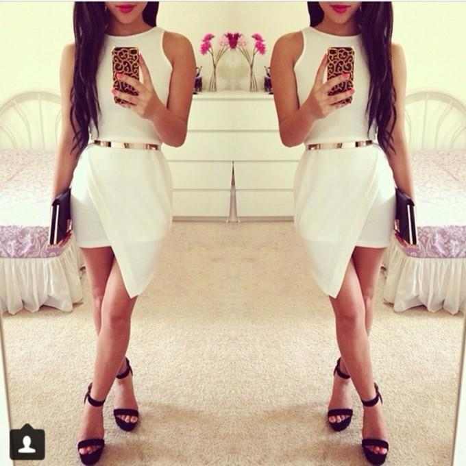 white dress gold belt beautiful asymmetrical sexi greek godness middle size dress the middle
