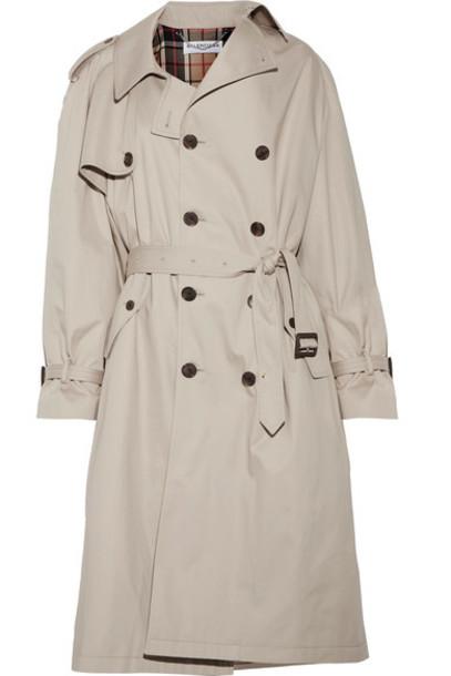 Balenciaga coat trench coat oversized cotton beige