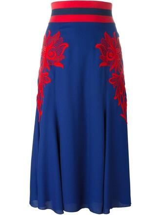 skirt embroidered floral blue