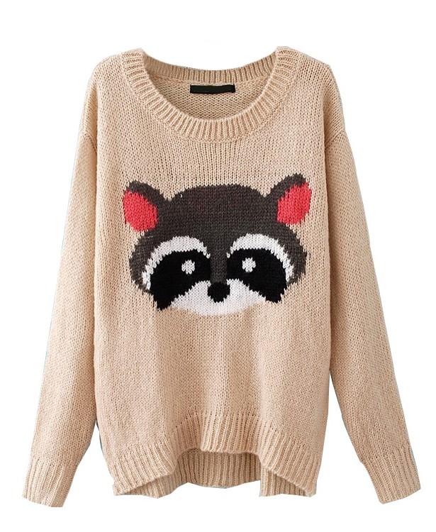 Off-white Sweater - Tan Raccoon Print Sweater | UsTrendy