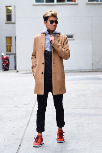 alexander liang blogger jeans sunglasses menswear mens sportswear mens coat camel