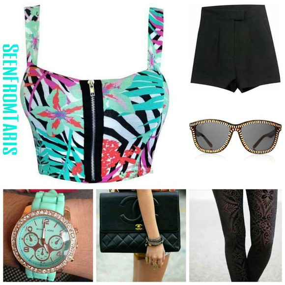 marc jacobs shorts black shirt teal crop tops chanel sunglasses seenfromtaris summer leggings pants