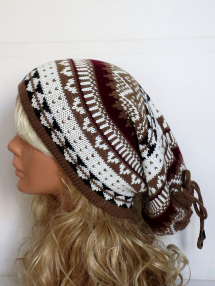 brown hat hat knit hat aztec tribal pattern hat machine knitted hat tribal pattern