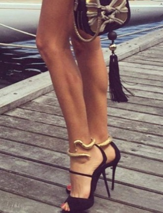 shoes love these black pumps! high heels snake black and gold heels fabulous on fleek