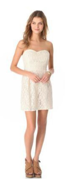 dress off-white lace dress strapless dress mini dress