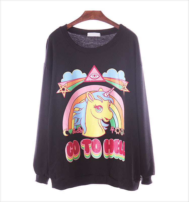 Online shop top quality new spring 2014 fashion women go to hell unicorn print long sleeve hoodies sweatshirts casual pullover sweater