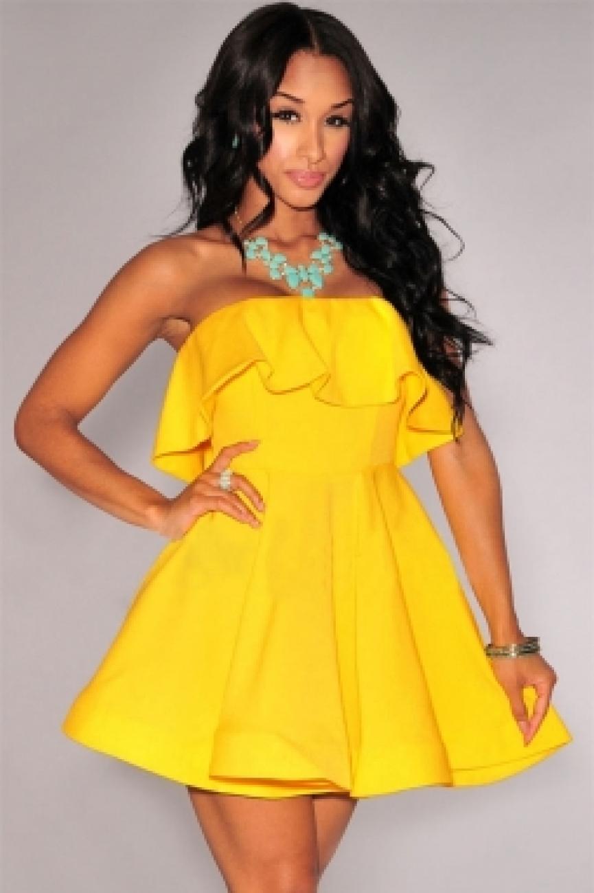 бело желтое платье фото