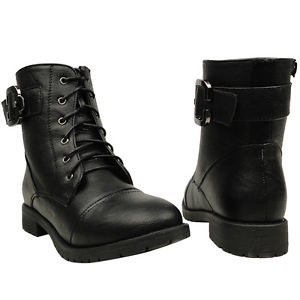 New Women's Casual Lace Up Motorcycle Ankle Combat Boots Black Sizes 6 10 | eBay
