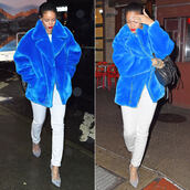 faux fur,rihanna,pants,coat