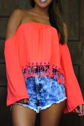 blouse,off the shoulder,bright,neon,coral,summer,cute,fringes,long sleeves,shorts,fluo,top,crop tops