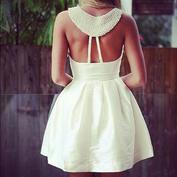 dress short dress cocktail pearl formal collar collared dress white dress homecoming homecoming dresses open back