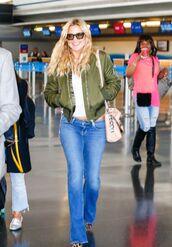 jeans,top,flare jeans,denim,kate hudson,jacket,bomber jacket