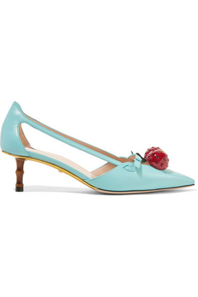 gucci embellished pumps leather turquoise shoes