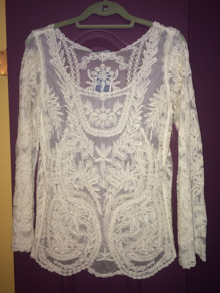 Youarenotalone Cream Scoop Neck Long Sleeve Sheer Top With Detail Size Small