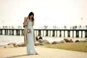 blogger,shiny sil,dress,coat,bag,jewels