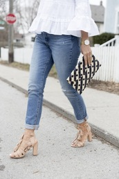 shoes,tumblr,sandals,sandal heels,high heel sandals,nude sandals,lace up heels,denim,jeans,blue jeans,blouse,white blouse,bag,printed pouch,pouch,spring outfits,bell sleeves