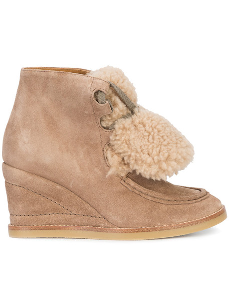 Chloe wedge boots women leather nude suede shoes