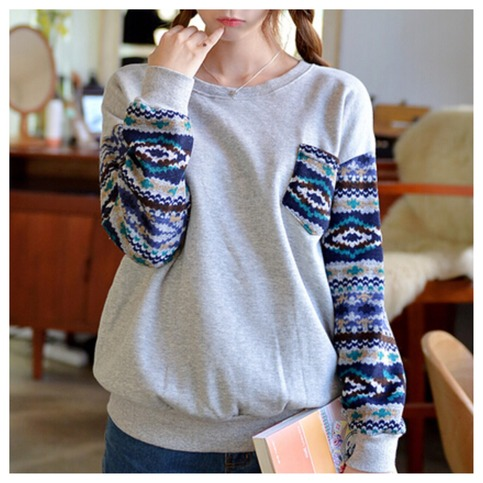 Aztec tribal sleeve one pocket pullover top
