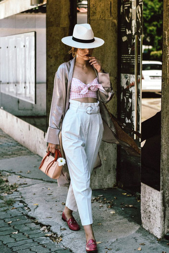 top hat tumblr pink top crop tops gingham pants white pants high waisted pants shoes loafers sun hat coat kimono