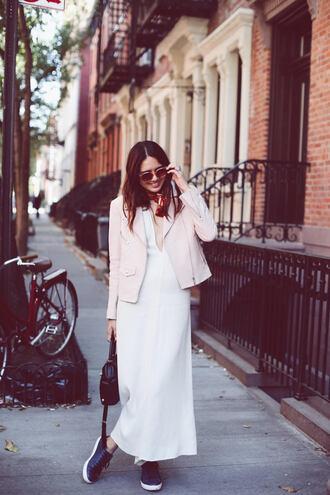 color me nana blogger white dress pink jacket