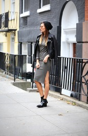 we wore what,dress,jacket,hat,shoes,patent boots,black boots,mid heel boots,ankle boots,beanie,black beanie,midi dress,slit dress,grey dress,sunglasses,aviator sunglasses,long sleeves