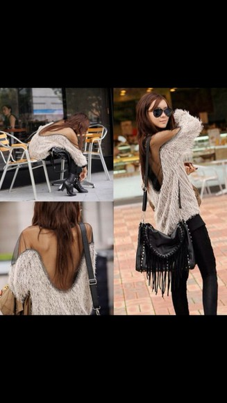 beige sweater bag blouse