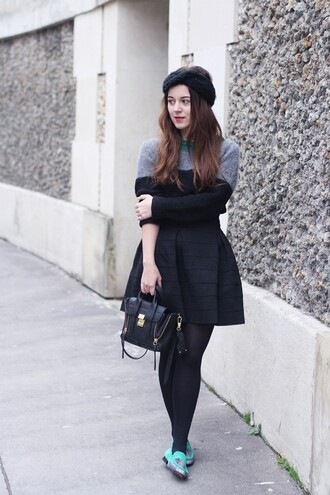 elodie in paris blogger black skirt satchel bag turban