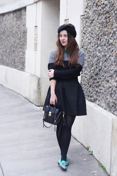 elodie in paris blogger black skirt satchel bag turban